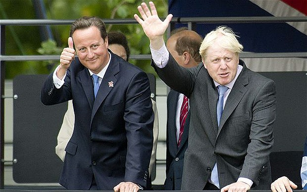 David Cameron and Boris Johnson at the Conservative Party Conference in Birmingham