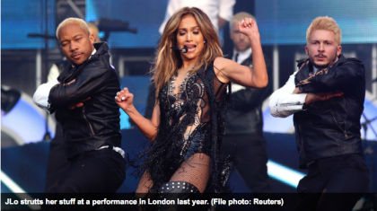 Jennifer Lopez on stage in London last year